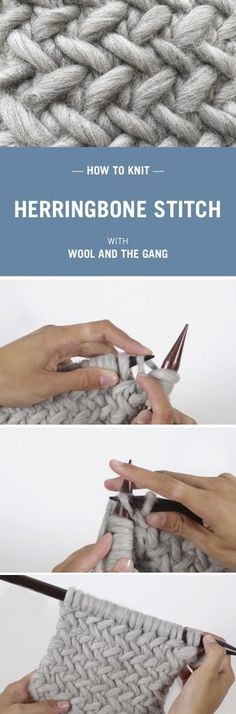 How to knit Herringbone Stitch with Wool and the Gang.                                                                                                                                                     More                                                                                                                                                                                 More