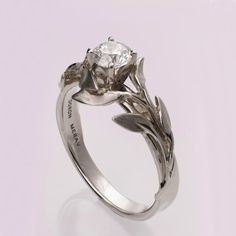 Leaves Engagement Ring No. 4 14K White Gold and by doronmerav