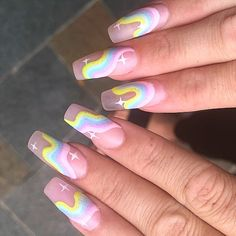 Image about nails in Rainbow 🌈 by 𝐃𝐚𝐲𝐝𝐫𝐞𝐚𝐦𝐞𝐫𝐱𝐁𝐞𝐥𝐢𝐞𝐯𝐞 Soft Nails, Edgy Nails, Grunge Nails, Stylish Nails, Gel Nails, Nail Polish, Simple Nails, Glitter Nails, Coffin Nails
