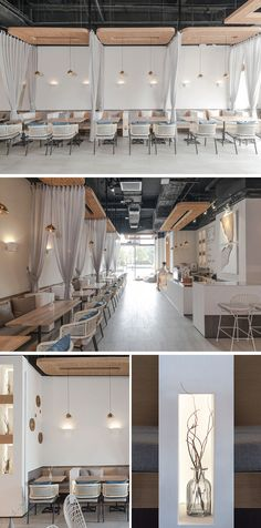 This modern coffee shop has small white partitions and curtains to divide the seating spaces, and the curtains can be closed to provide a sense of privacy. #ModernCoffeeShop #CafeInterior