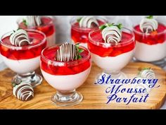 If you're a fan of strawberries, this strawberry mousse parfait is for you! It's creamy, dreamy and absolutely perfect! The mousse is made with whippe Strawberry Mousse Cake, Raspberry No Bake Cheesecake, Strawberry Parfait, Strawberry Sauce, Strawberry Recipes, Jello Recipes, White Chocolate Cookies, White Chocolate Mousse, Chocolate Chocolate