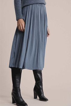 Fine Pleat Skirt Pleated Midi Skirt, That Look, My Style, Skirts, Color, Clothes, Blue, Women's Fashion, Smoke