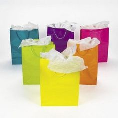 Wedding Gift:Lot of 12 Large Bright Neon Color Paper Gift Party Bags
