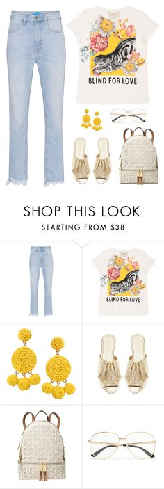 """Fringe Hems and Gold Sandals"" by shoelover220 ❤ liked on Polyvore featuring M.i.h Jeans, Gucci, Humble Chic and Michael Kors"
