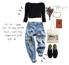 """shy little sh*t"" by badasskitty ❤ liked on Polyvore featuring Levi's, Borders&Frontiers, Vans, Ray-Ban, Edition, cute, indie, ootd, shy and crush"