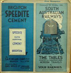 1938 edition of the SAR South Australian Railways timetable. Cover shot.