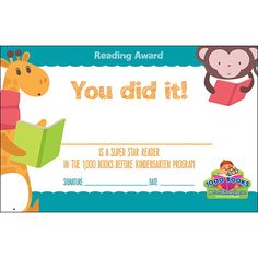 Demco® Upstart® Books Before Kindergarten Reading Certificates 1000 Books Before Kindergarten, Kindergarten Goals, Kindergarten Reading, Certificate Design, Certificate Programs, Library Activities, Early Literacy, Library Books, Kid Beds