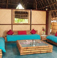 bamboo house and furniture Bamboo Sofa, Bamboo Furniture, Diy Furniture, Furniture Design, Outdoor Furniture, Indian Furniture, Bamboo Table, Indian Home Interior, Indian Home Decor