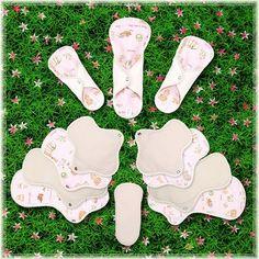 Pure Cotton Reusable Cloth Pads Menstrual - 3 Mini, 3 Regular, 3 Large & 3 Night pads (Animal farm)