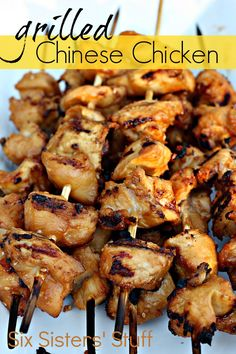 Grilled Chinese Chicken Kabobs from SixSistersStuff.com #chicken #dinner #grilling