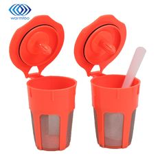 1PC Plactic Spoon +2PCS Refillable Reusable Coffee Filters K-Carafe For Keurig 2.0 Nvironmental Protection