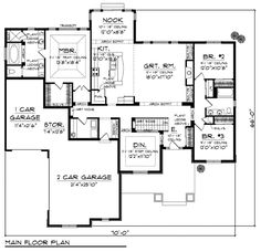 First Floor Plan of Country   Craftsman   European   Ranch   House Plan 72943