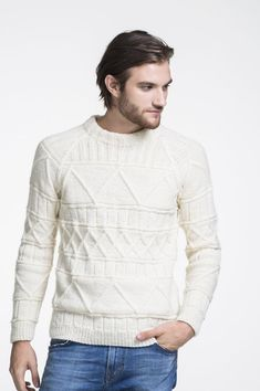 This men's textured sweater is both showy while still staying simple & stylish. This men's textured sweater is both showy while still staying simple & stylish. The sweater featu Jumper Knitting Pattern, Free Knitting, Knitting Ideas, Knitting Projects, Mens Cable Knit Sweater, Men Sweater, Matching Sweaters, Pullover, Mens Tops