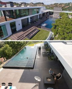 The living areas of this modern house, as well as a few bedrooms, all open up to the deck, the backyard with a fireplace, and a swimming pool. #SwimmingPool #ModernHouse