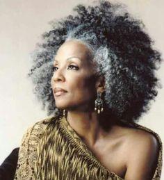 Natural grey hair..