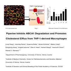 Piperine inhibits ABCA1 degradation and promotes cholesterol efflux from THP-1-derived macrophages   https://www.researchgate.net/publication/310470964_Piperine_inhibits_ABCA1_degradation_and_promotes_cholesterol_efflux_from_THP-1-derived_macrophages  Keywords: Nutrition, diet, food, spices, pepper, piperine, cholesterol, LDL, HDL, macrophages, monocytes, CVD, protein half-life, atherosclerosis, metabolism, health, ABCA1, ABCG1, calpain, calpeptin, cholesterol efflux.