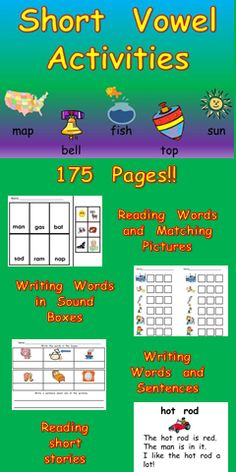 Do you need materials to help your students master short vowel sounds? This 175-page packet of materials may be the answer!! This packet focuses on all 5 short vowel sounds; there are many activities to provide students opportunities to read, write, and spell words with short vowel sounds.  There are numerous activities for each short vowel; click for more information :)