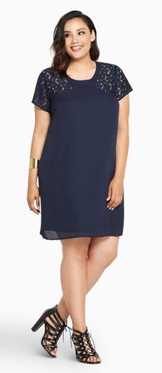 Plus Size Lace Inset Shift Dress