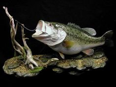 15. LARGEMOUTH BASS REPRODUCTION ON ROCK BASE FOR WALL