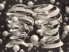 MC Escher Paintings was an artist; created each tessellation with extradorinary math skills. The MC Escher artwork continued to develop with his drawing hands art print. Mc Escher Art, Escher Kunst, Escher Drawings, Art Museum, Drawn Art, Poster Art, Vintage Poster, Art Sculpture, Art History