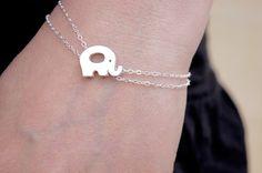 Elephant Bracelet - Gorgeous Original Design - Elephant - Dainty Jewelry - Nature Inspired Jewelry - Double Chain Bracelet - Animal Jewelry