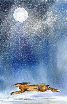 Running rabbit in the moonlight (or hare) Bunny Art, Bunny Bunny, Rabbit Art, Moon Art, Stars And Moon, Moonlight, Illustration Art, Animal Illustrations, Fantasy Art