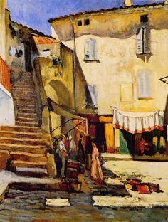 La Place aux Herbes à Saint-Tropez, 1905 by Charles Camoin (French, 1879 - Raoul Dufy, Georges Braque, Saint Tropez, Art Fauvisme, Henri Fantin Latour, Post Impressionism, Henri Matisse, Famous Artists, Landscape Paintings