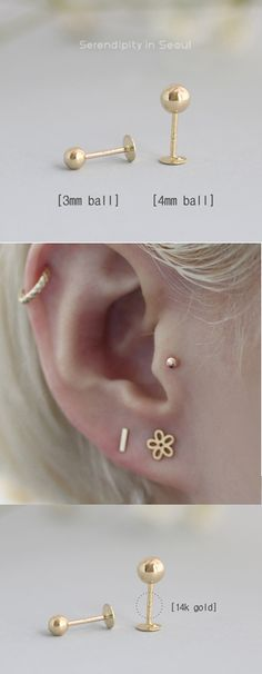 Perfect for tragus, helix, conch, ear lobe, second/third hole piercings. Shop for gold cartilage stud earrings at Serendipity in Seoul. Tragus Piercings, Tragus Piercing Jewelry, Tragus Stud, Gauges, Labret Jewelry, Moonstone Earrings, Crystal Earrings, Crystal Jewelry, Sterling Silver Earrings