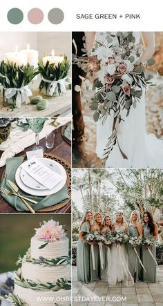 10 Perfect Shades of Green Wedding Color Ideas for Spring/Su.- 10 Perfect Shades of Green Wedding Color Ideas for Spring/Summer 2019 sage green and pink wedding color ideas for spring 2019 - Perfect Wedding, Dream Wedding, Wedding Day, Casual Wedding, Wedding Summer, Green Spring Wedding, Wedding Mood Board, Wedding Ideas Green, Wedding Groom Attire