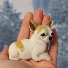 ReservedTwo Brooch made of wool dog Chihuahua. Chihuahua