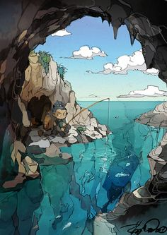 """Solitary Island"" original illustration by Posuka Demizu"