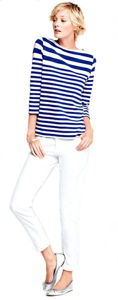 How to wear a striped t shirt - Brighten up in white Engineered Stripe Sailor Tee, $39, Lands' End.