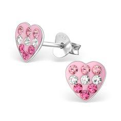 Children's Pink Glitzy Heart Real Sterling Silver Stud Earrings