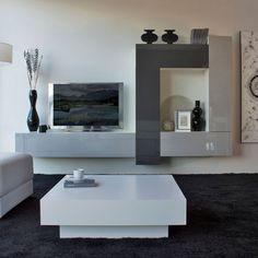 Mueble de diseño minimalista que combina los grises