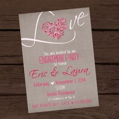 Pink and gray invitation. Can be used for any party - engagement, bridal shower, wedding shower, valentine's day.