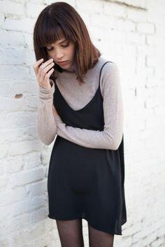 Dress: slip spaghetti straps spaghetti strap black mini top turtleneck long sleeves grey top tights