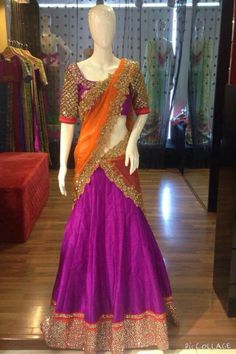 Half Saree Lehenga, Lehnga Dress, Silk Lehenga, Half Saree Designs, Lehenga Designs, Blouse Designs, Indian Dresses, Indian Outfits, Indian Clothes