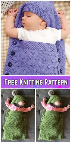 Knit Baby Hooded Sleeping Sack Blanket Free Knitting Pattern & Paid – Crochet and Knitting Patterns Knit Baby Sweaters, Knitted Baby Clothes, Knitted Baby Blankets, Baby Cocoon Pattern, Free Baby Blanket Patterns, Baby Knitting Patterns Free Newborn, Baby Shawl, Baby Pullover, Free Baby Stuff