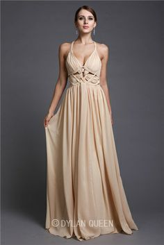 Fascinating A-Line/Princess V-neck Sleeveless Ruffles Floor-Length Chiffon Dresses