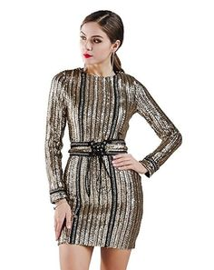 e25ef78a145 online shopping for Miss ord Missord Women s Sexy O-neck long sleeve sequin  belt rope mini dress from top store. See new offer for Miss ord Missord  Women s ...