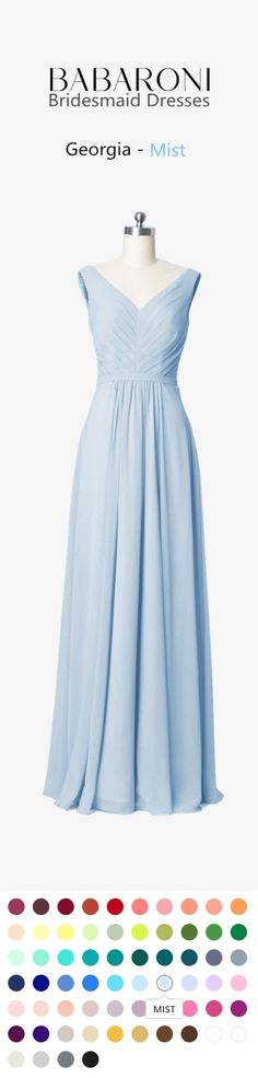 Georgia an elegant floor-length bridesmaids dress with an A-line cut with simple chiffon. This bestseller features a v neckline with a zipper on the back. #mist #bridesmaid #wedding #prom #babaroni