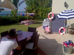 photo booth area... with fun nautical items..