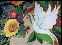 """Laurel Burch """"Swan Goddess"""" Wall Décor"""
