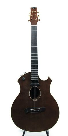 "Parker's first acoustic guitar, features Canadian cedar top, with flamed Maple back and sides, three-piece Indonesian mahogany neck with African ebony fingerboard, and Fishman hum-canceling neck pickup plus Acoustic Matrix undersaddle system. A visually striking guitar with transparent black gloss finish, with a shallow cutaway. 25"" scale, 19 fret neck, with zero fret for comfort. Grover Sta-tite tuners in gold. Oval soundhole with Abalone rosette. Nice hardshell case with green plush ..."