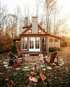 Cosy cabin with patio - Architecture and Home Decor - Bedroom - Bathroom - Kitchen And Living Room Interior Design Decorating Ideas - Future House, Cabins And Cottages, Small Cabins, Log Cabins, Rustic Cabins, Cabin Homes, Tiny Homes, Cabins In The Woods, House Goals