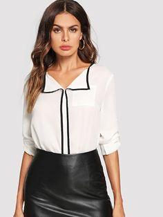 Classy Top Regular Fit Collar Long Sleeve Roll Up Sleeve White Regular Length Contrast Binding Roll Tab Sleeve Top Sheer Chiffon, Chiffon Shirt, Sheer Shirt, Spring Shirts, Roll Up Sleeves, White Style, Types Of Sleeves, Fashion News, Women's Fashion