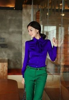 Women blouse sexy dress shirt faux silk casual tops lady summer outdoor fashion clothes 2013 new sty Colour Combinations Fashion, Color Combinations For Clothes, Nice Dresses, Casual Dresses, Casual Outfits, Work Outfits, Dress Outfits, Fashion Outfits, Womens Fashion