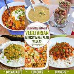 Slimming Slimming Eats Vegetarian Weekly Meal Plan - Week 13 - Slimming World Recipes - taking the work out of meal planning so that you can just cook and enjoy the food Slimming Eats, Slimming World Recipes, Diet Recipes, Vegetarian Recipes, Cooking Recipes, Vegetarian Italian, Cooking Ideas, Veggie Recipes, Soup Recipes