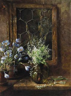Maria Hildegard Lehnerdt - Still-life with lilies of the valley and crocuses