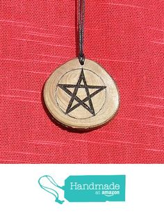Cherry wood slice pendant with pyrographed Pentagram design. from A Burning Ambition https://www.amazon.co.uk/dp/B01N3R587H/ref=hnd_sw_r_pi_dp_lEisyb32X21RT #handmadeatamazon
